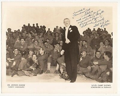 DR. JESTER PERFORMING AT A U.S.O. SHOW PHOTO Signed to the Salisbury's 1949