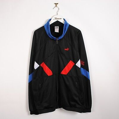 Vintage 80s/90s Puma Track Jacket in Black Patterned Shell Top 2XL | Retro