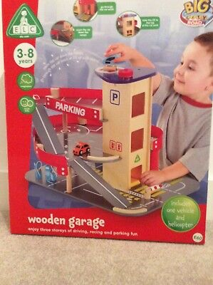 Elc Early Learning Centre Big City Wooden Garage Inc 2 Vehicles New In Box