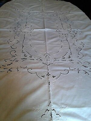 """Vintage Madeira Spain Tablecloth 68"""" by 80"""" Hand Embroidered, 8 Matching Napkins"""