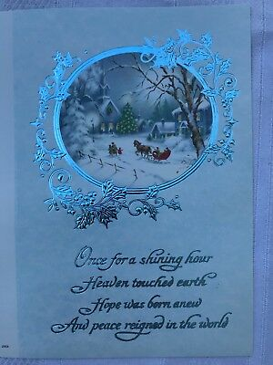 Vintage Christmas Greeting Cards Unused Boxed Lot of 25 Cards Snow Sleigh Blue