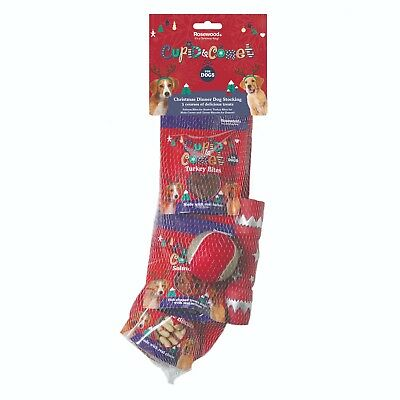 Rosewood Dog Christmas Dinner Stocking - Festive Holiday Gift - 3 Courses 2 Toys