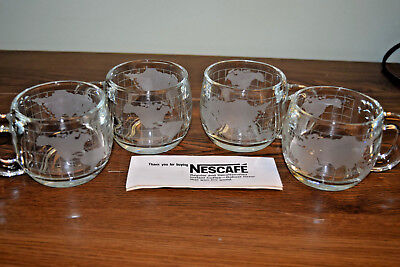 4 Vintage NESTLE Nescafe World Globe Frosted Coffee Cups/Mugs New in Boxes