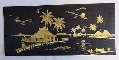 Vintage Straw Folk Art Asian Woven Bamboo on Black Cloth Tropical Coastal Scene