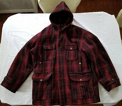 331d7445dc502 Vintage WOOLRICH Red Plaid Mackinaw Hunting Field Jacket Rare SIZE 46 Hood