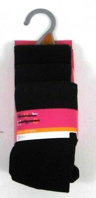 Girls SCHOOL TIGHTS Black Cotton Rich Pack of 3 Ages 4,5,6,7,8,9,10,11,13,14 NEW