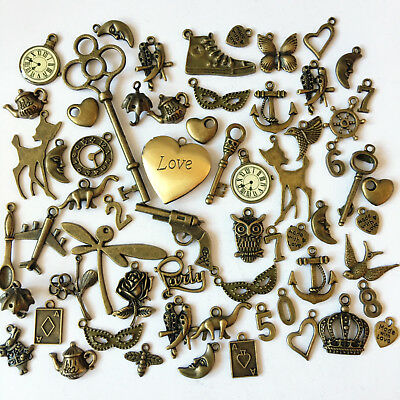 Job Lot/ Bundle Mixed Charms X 60 Bronze Antique Set DIY Key Deer Locket Heart