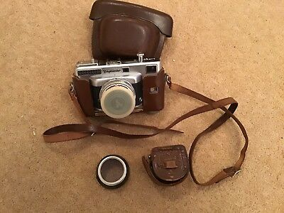 vintage voighander camera in leather case with hood lense Spares Or Repairs