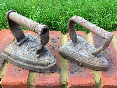 Antique vintage Irons Set Of Two / Cast Iron Doorstop