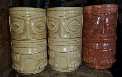 Set of 3 tall Two Face Tiki Mugs by Duncan Home Ceramics