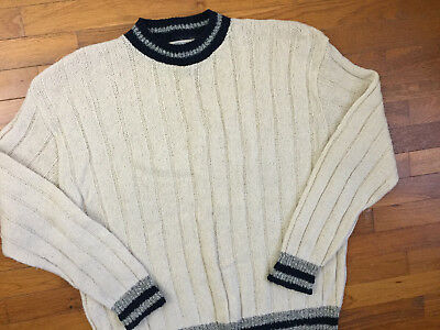 vtg 80s Trad Wool Ribbed Sweater men's XL cream natural preppy made in usa 7423