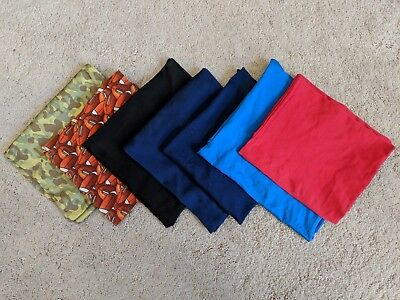 BOOK COVERS Stretchable Fabric, Assorted Pack of 7- Football Army Black Blue Red