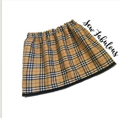 Handmade Baby Girls Skirts Clothes New UK Dark Caramel Tartan Trim Outfit Lot