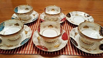 Royal Halsey Very Fine China Five Cups & Six Saucers Iridescent Pearl Multi C...