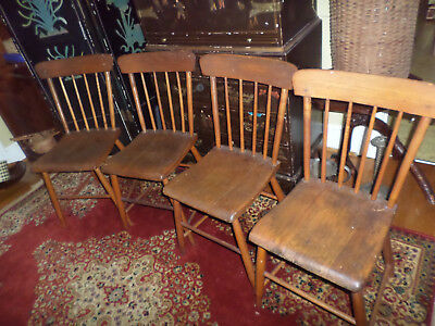 Wonderful Antique Set Of 4 Early American Primitive Southern Pine Chairs 1800  1840