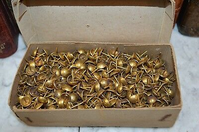 One Antique Lot of 20 French Bright Brass Finish Upholstery Nail Tacks Nailheads