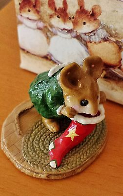 Wee Forest Folk  M-142 Chris-Mouse Stocking  Green Pajamas RETIRED Mint