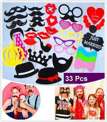 33 Pcs Wedding Photo Booth Props Moustache on A Stick Party Fun