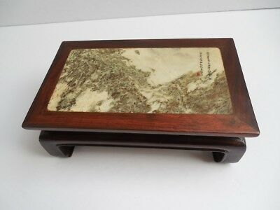 """Antique Chinese marble-inset small hardwood stand inscribed with seal 8""""x 4 3/4"""""""