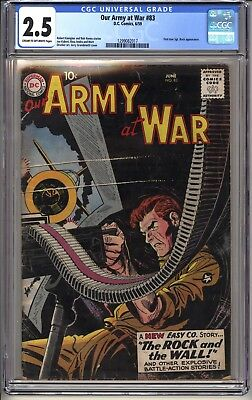 OUR ARMY AT WAR #83  CGC 2.5 CR-OW DC Comics 6/59  1st true Sgt. Rock appearance