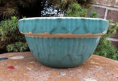 """Yellow Ware Stoneware Teal Mixing Bowl~Crock~ Picket Fence 5-7/8"""""""