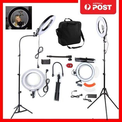 "14""5500K Dimmable Diva LED SMD Ring Light Diffuser Stand Make Up Studio Lighting"