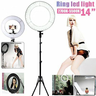 "LED Ring Light 14"" 2700-5500K Dimmable Diva Camera Studio Photo Make Up Light"