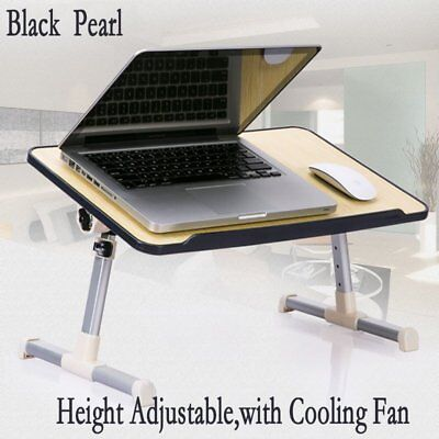 Folding Laptop Table Stand Adjustable Computer Desk Wooden Aluminium Alloy US BE