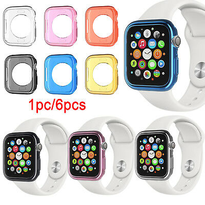 1/6pcs Transparent Soft TPU Protect Case Cover for Apple Watch Series 4 40/44mm