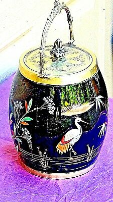 ANTIQUE 19c VICTORIAN BLACK GLAZED PORCELAIN BISCUIT JAR WITH PAINTING OF CRANES