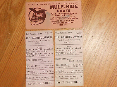3 ANTIQUE ADVERTISING Ink Blotters;MULE-HIDE ROOFS & THE BEAUTIFUL LAUNDRY
