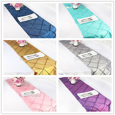 Taffeta Pintuck Table Runner Wedding Party Banquet Event Home Dinner Table Decor