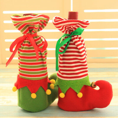 Christmas Gift Bag Elf Boot Candy Holiday Christmas Wine Bottle Cover Pouch Prop