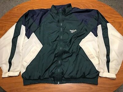 07cdc5d43032b MENS VINTAGE 90'S Reebok Green Blue & White Zip Up Logo Windbreaker Jacket  Xl