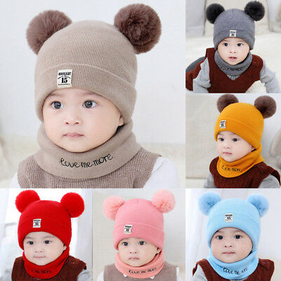 Newborn Kids Baby Boy Girl Pom Hat Winter Warm Knit Crochet Beanie Cap Scarf Set