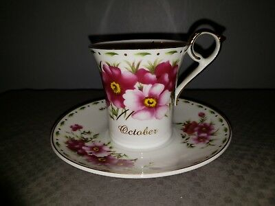 Beautiful Vintage October Birth Month floral flower Tea Cup and Saucer Set