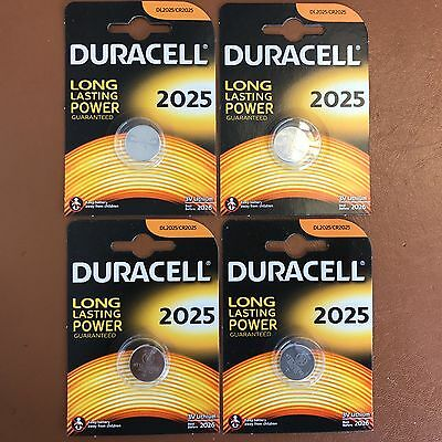 4 X Duracell CR2025 3V Piles Lithium Batterie 2025 Dl / BR2025 Longest