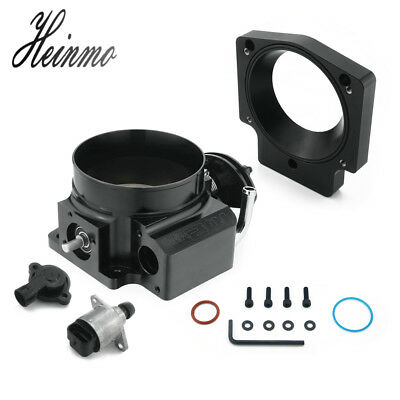 For 102mm Intake Manifold LS Engine Throttle Body + TPS + Adapter Plate Black