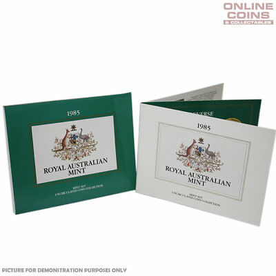1985 Royal Australian Mint 7 Coin Uncirculated Set In Folder - Yellowed Insert