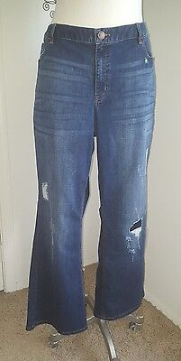 LANE BRYANT Low Rise Distressed Boot Cut Dark Wash Denim Jeans 16 Regular NWT