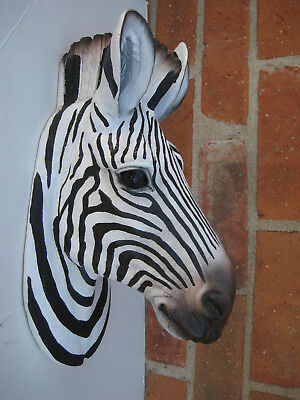 Large SAFARI AFRICA ZEBRA WALL HEAD MOUNT Decoration SCULPTURE STATUE LOG CABIN