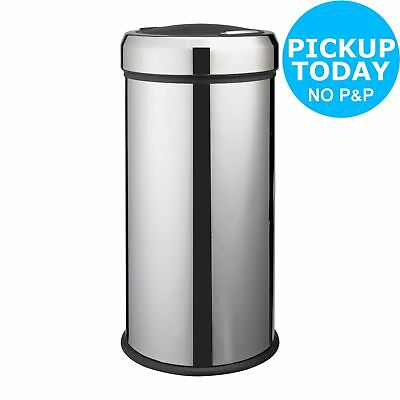 HOME 30 Litre Matt Black Press Top Bin - Silver.