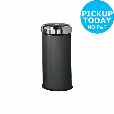 HOME 30 Litre Matt Black Press Top Bin - Black.