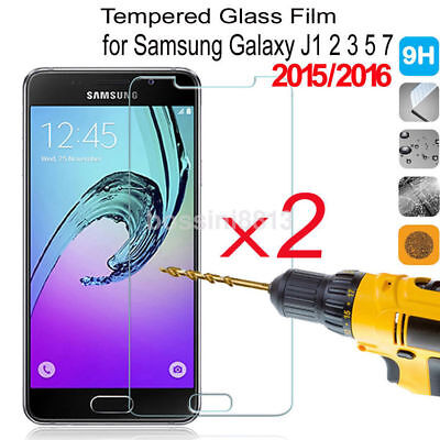 2 Tempered Glass Protective Screen Protector Film for Samsung Galaxy J1 2 3 5 7