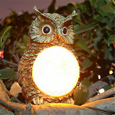Solar Outdoor Owl Light Garden Decoration LED Post Cap Deck Fence Landscape Lamp