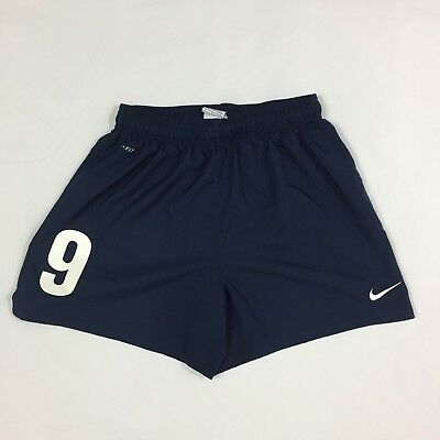 Nike Soccer Shorts Kids Size S Blue #9 Running Athletic Dri-Fit Embroidered