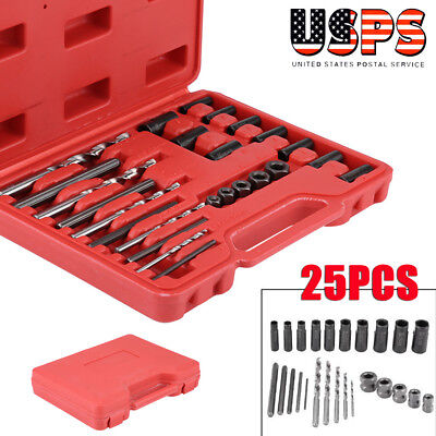 25 Pc Screw Extractor drill and guide set Broken Screws Bolts Remover Easy Out