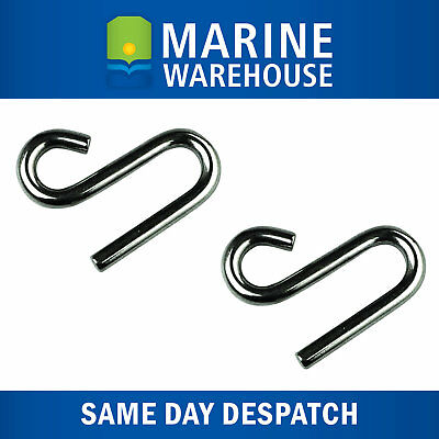 2X 6mm Stainless Steel S Hook - Boat Marine Shade Sail Winch & Rigging 107004/2