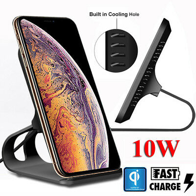 10W Qi Wireless Fast Charger Dock Stand For iPhone X XS Max Xr 8 Plus Mate20 Pro