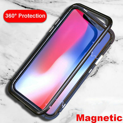 Magnetic Adsorption Flip Phone Case For OnePlus 6 Metal Frame Hard Glass Cover